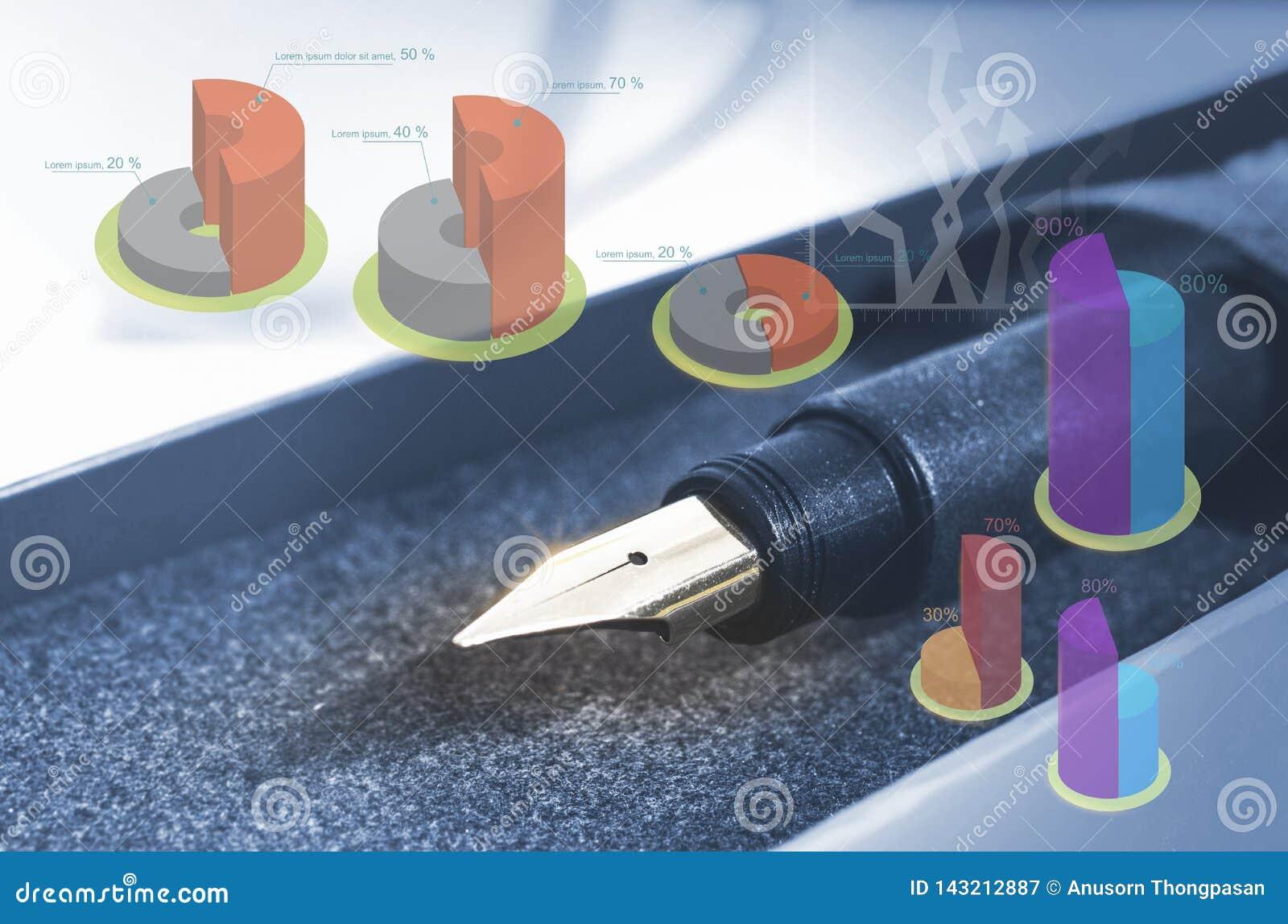 Pena e ponta do close up com gráfico, ideia da economia, ideia do negócio, defocus