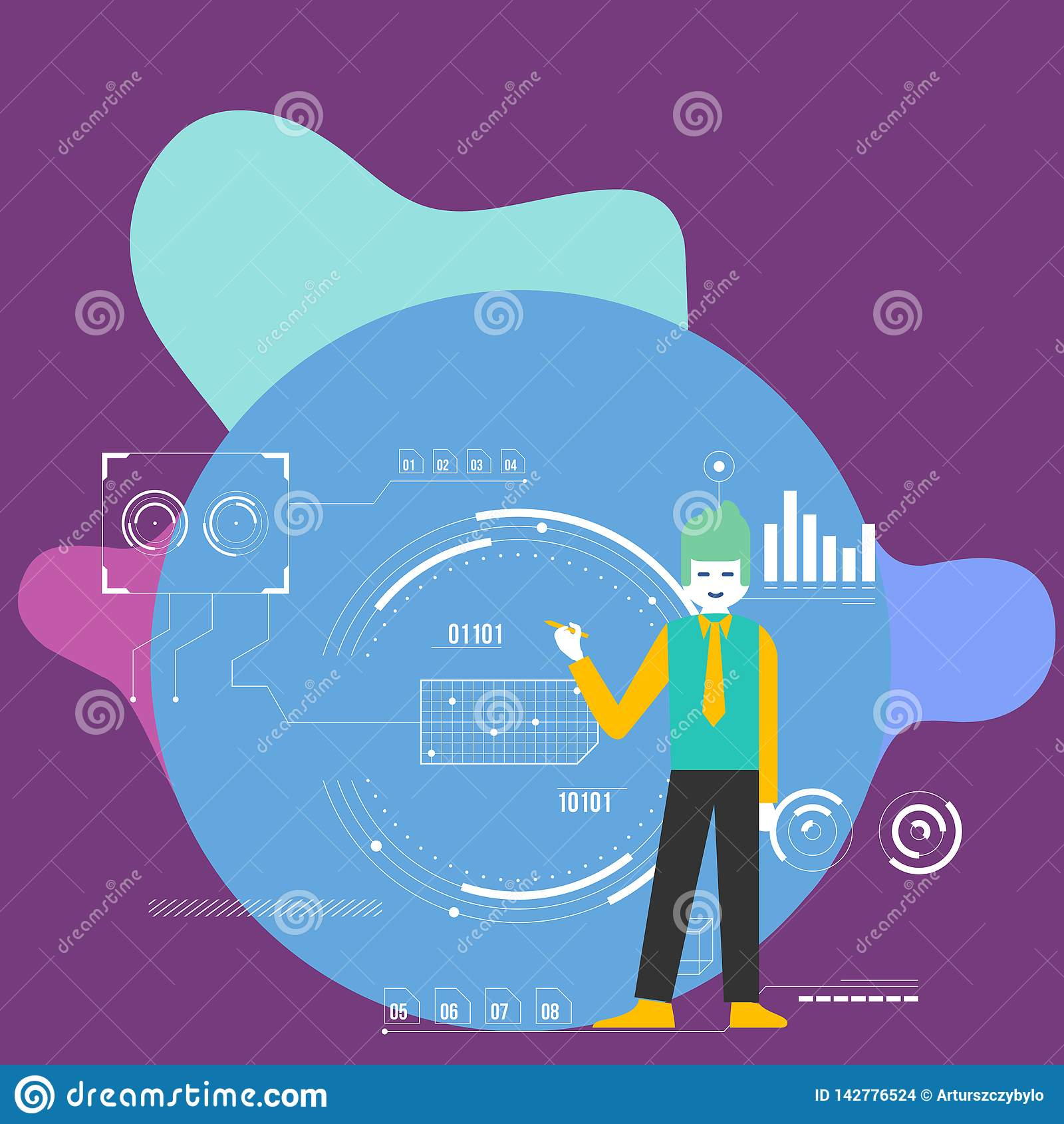 Pena guardando ereta do homem e apontar ao diagrama de carta O fundo é enchido com os ícones de SEO Process e do ciclo creativo