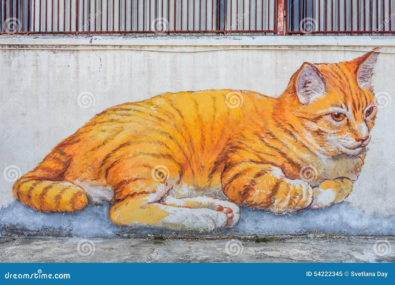Penang cat mural editorial image image 54222345 for Mural 1 malaysia negaraku