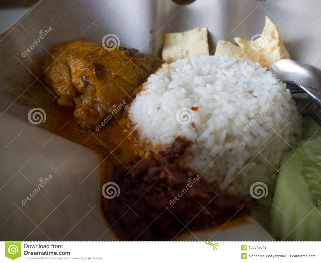 Penang food Chicken Curry with spicy sauce, Malaysia