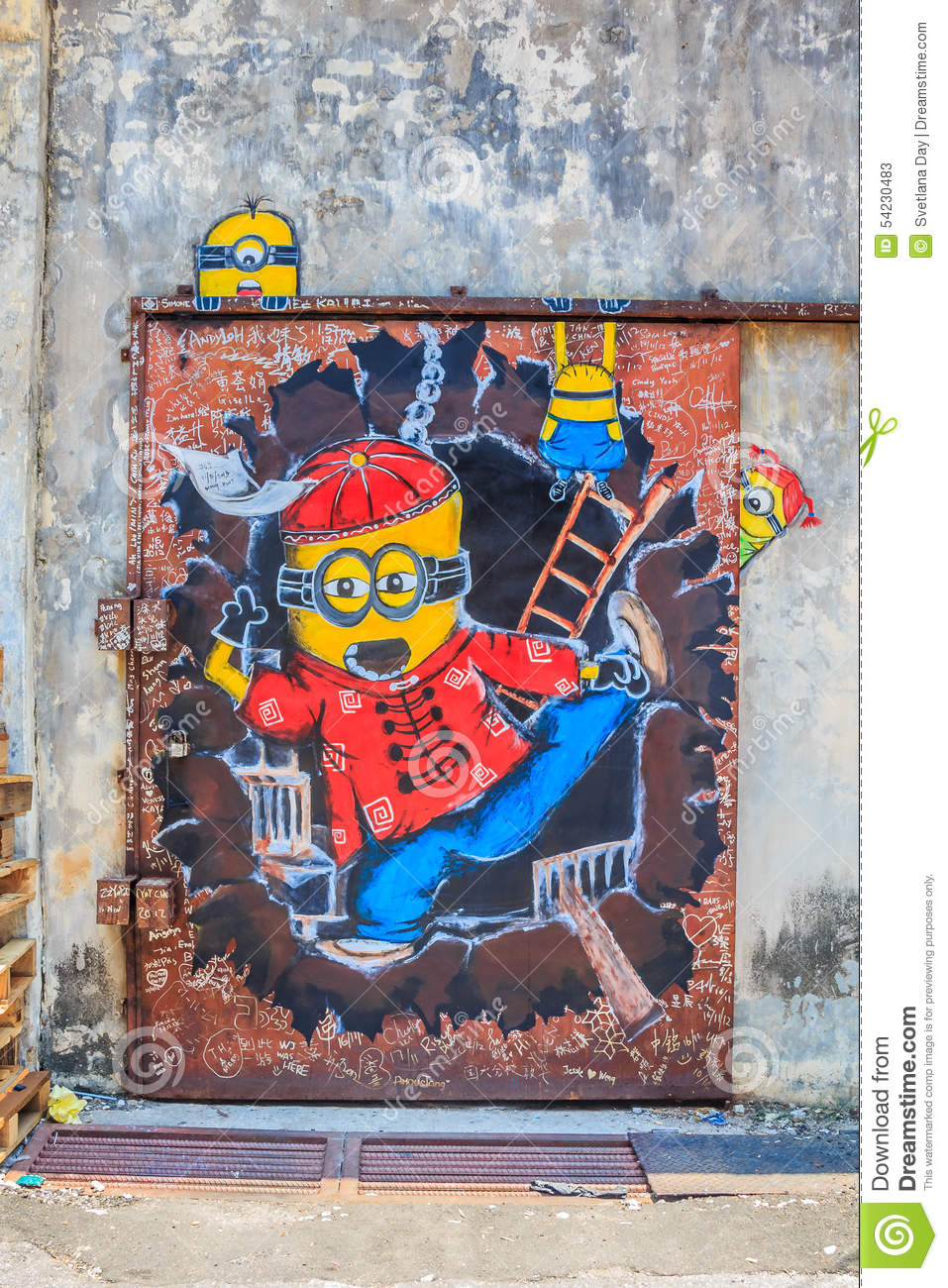 Penang Mural With Minions Editorial Stock Photo Image