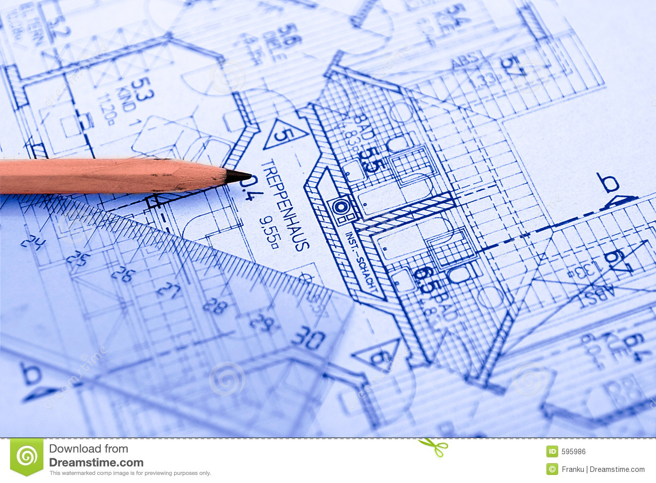 Pencil on blueprint royalty free stock image image 595986
