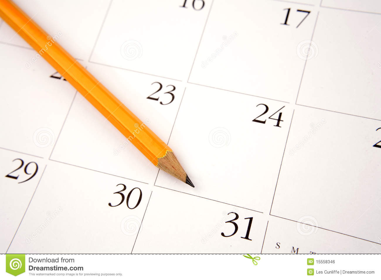 pencil on calendar stock photo  image of monthly  calender