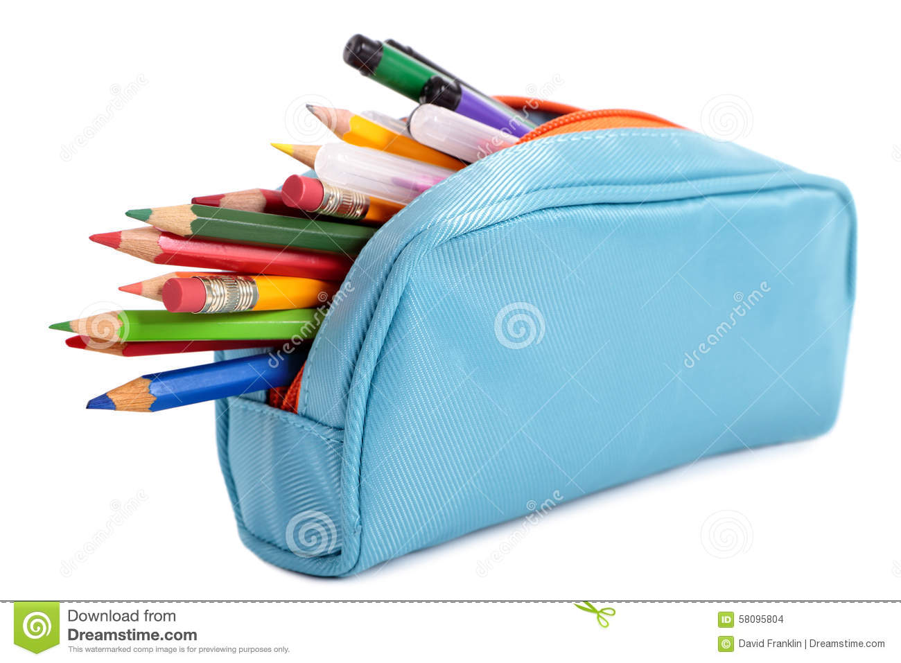Pencil Case Full With Pens And Pencils Isolated On White