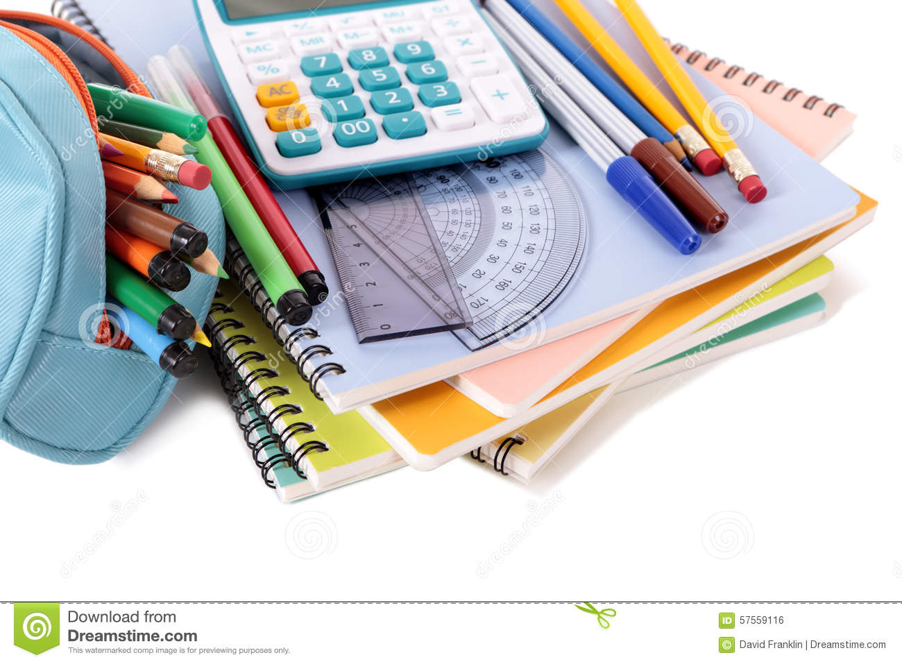 Pencil Case, School Supplies With Calculator, Pile Of ...