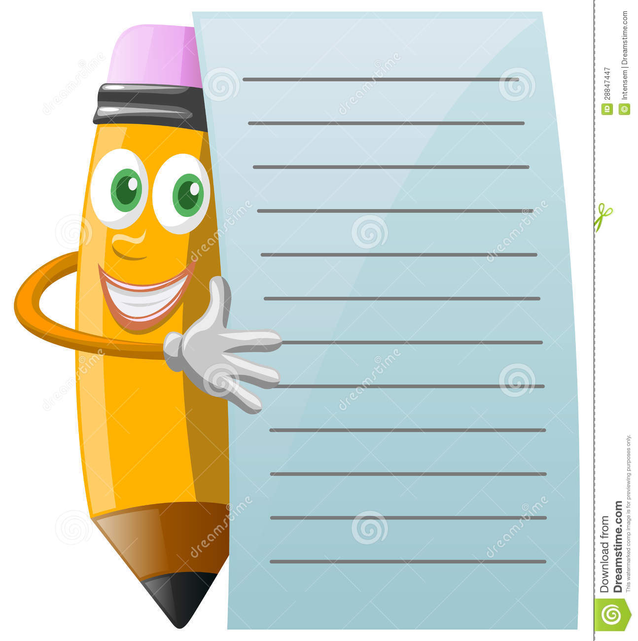 Pencil character with note paper stock vector illustration of pencil character with note paper voltagebd Image collections