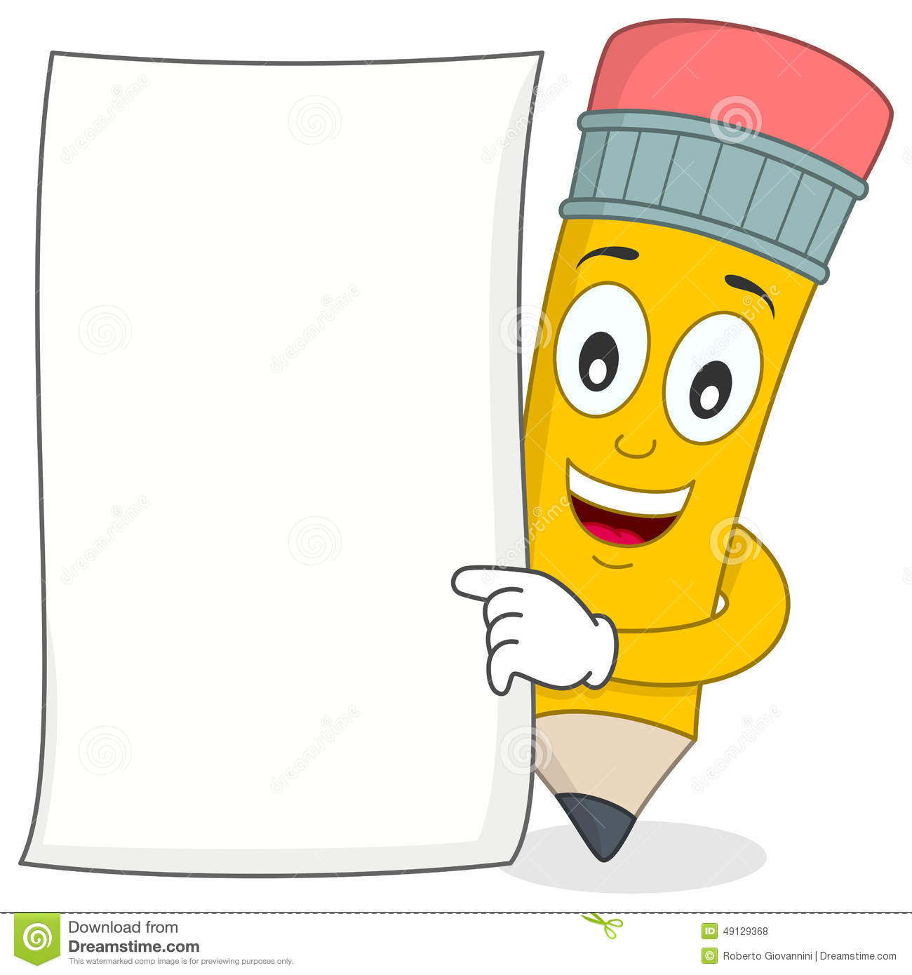 Pencil Character With White Blank Paper Stock Vector ...