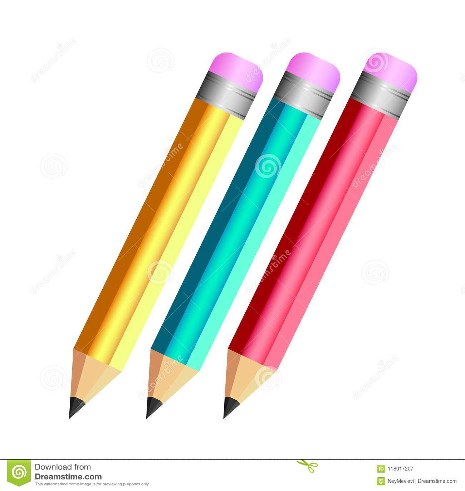 3 pencil color red blue yellow fun design stock vector