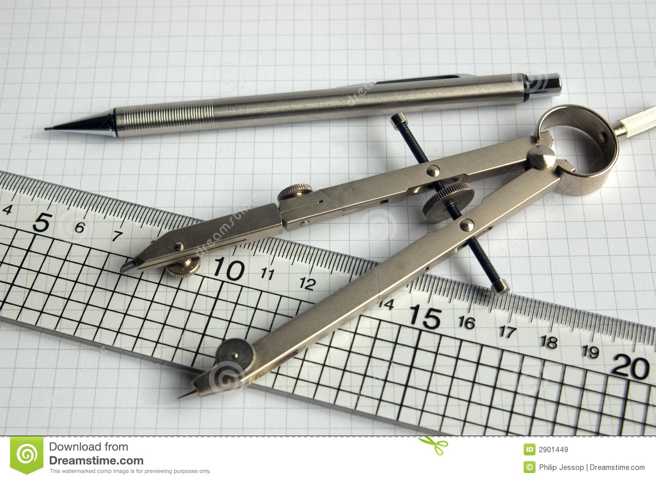 pencil compass and ruler stock image. image of draw, pencil - 2901449