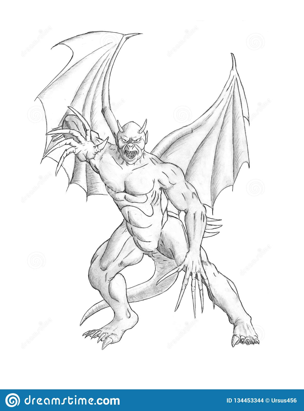 Pencil concept art drawing of fantasy winged demon or devil