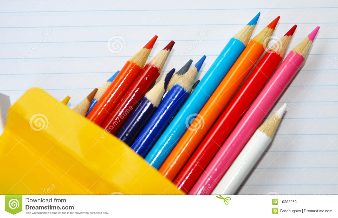 Pencil Crayons Box On Lined Paper Stock Image Image