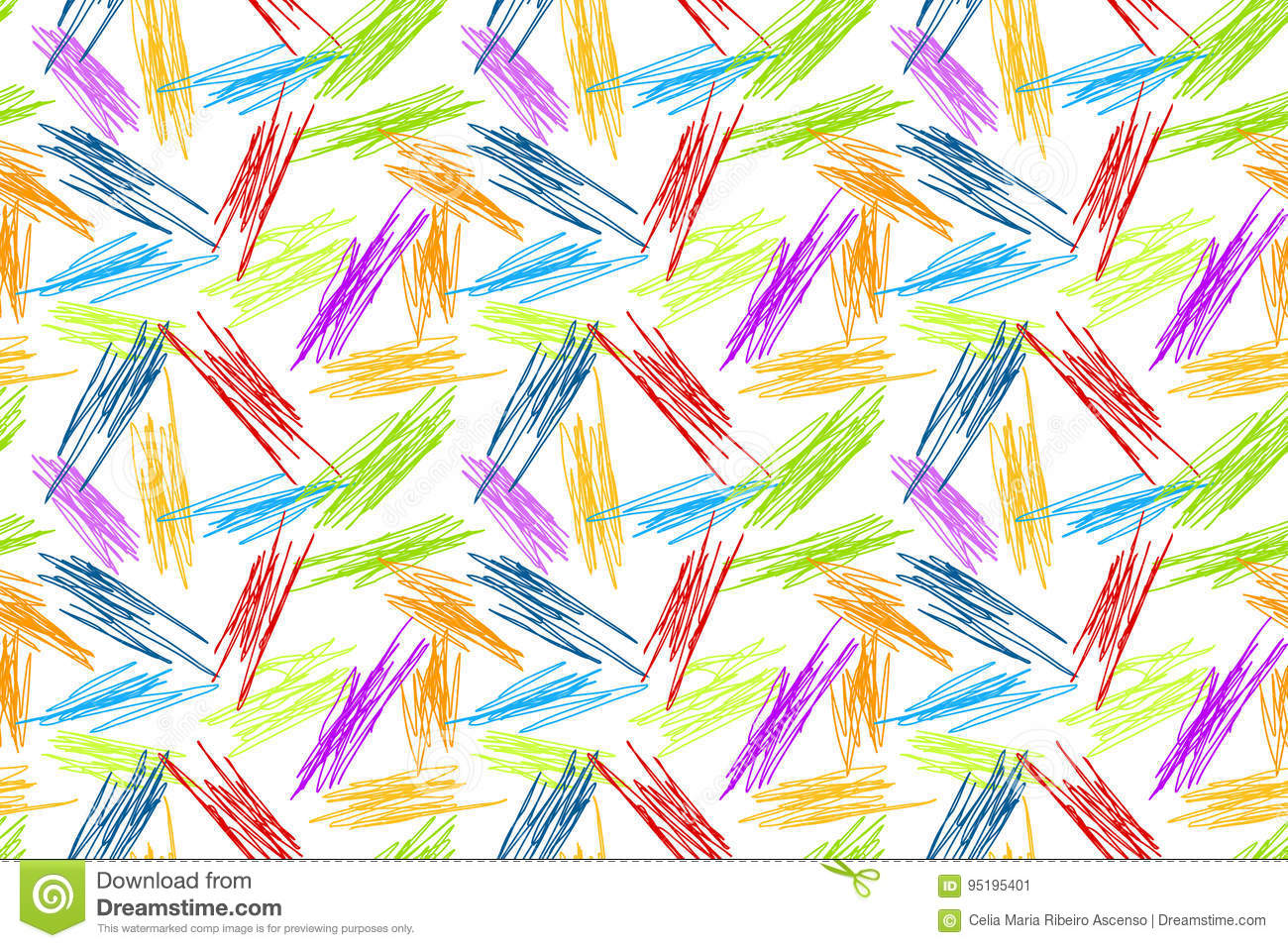 Pencil Doodles Seamless Rainbow Background