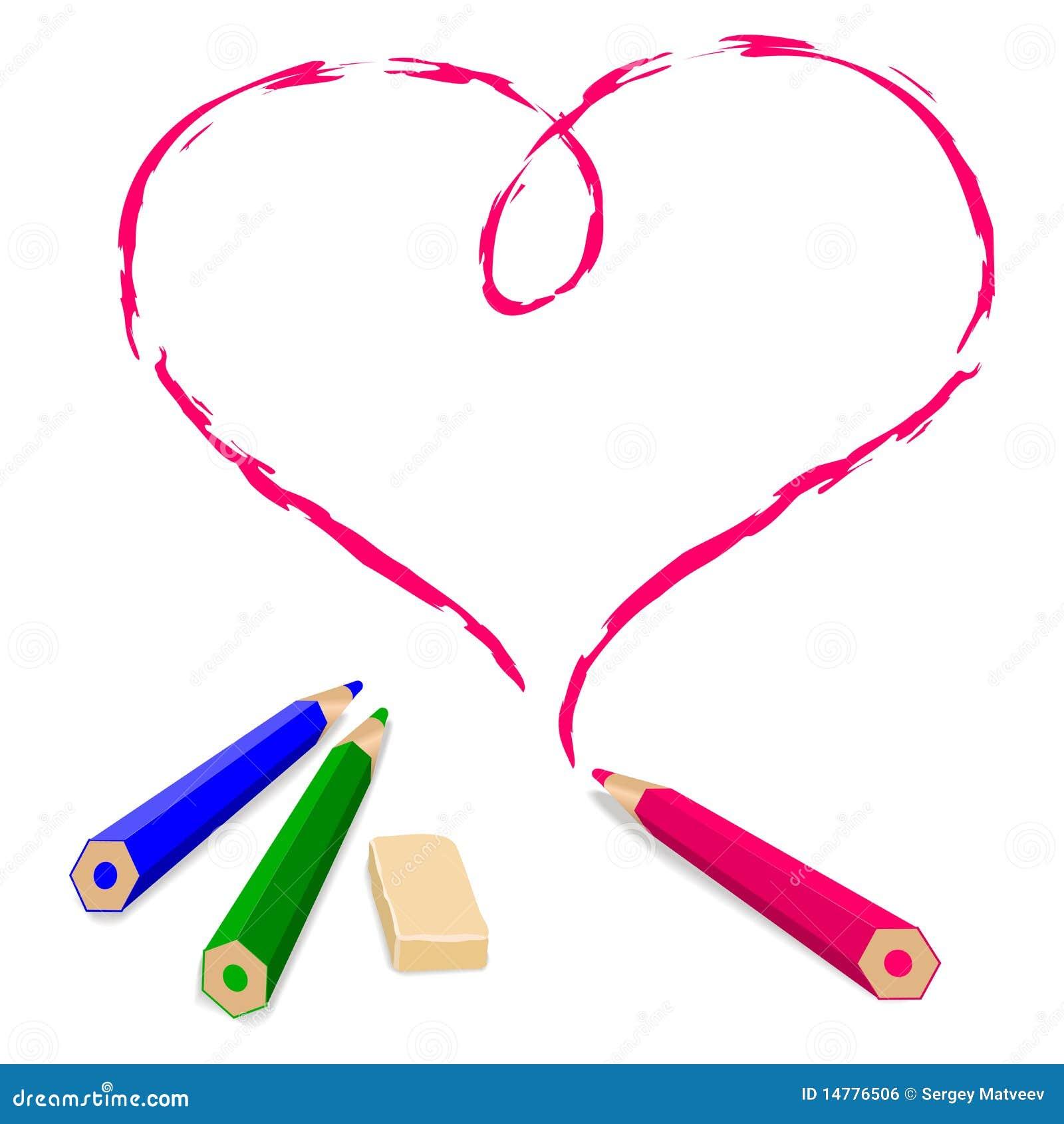 Pencil Draw Heart Stock Vector Illustration Of Shape 14776506