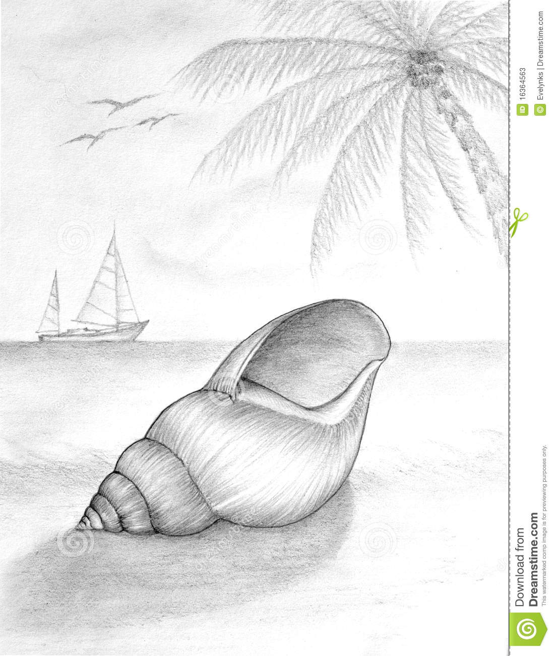 Pencil Drawing Of Beach Scene Stock Photos - Image 16364563