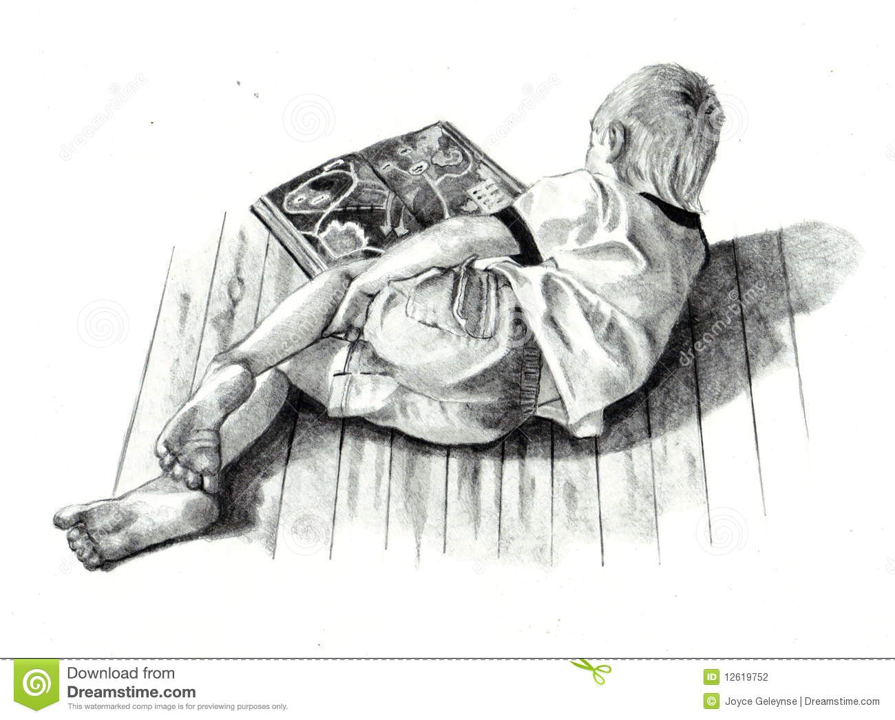 Pencil drawing of boy reading book