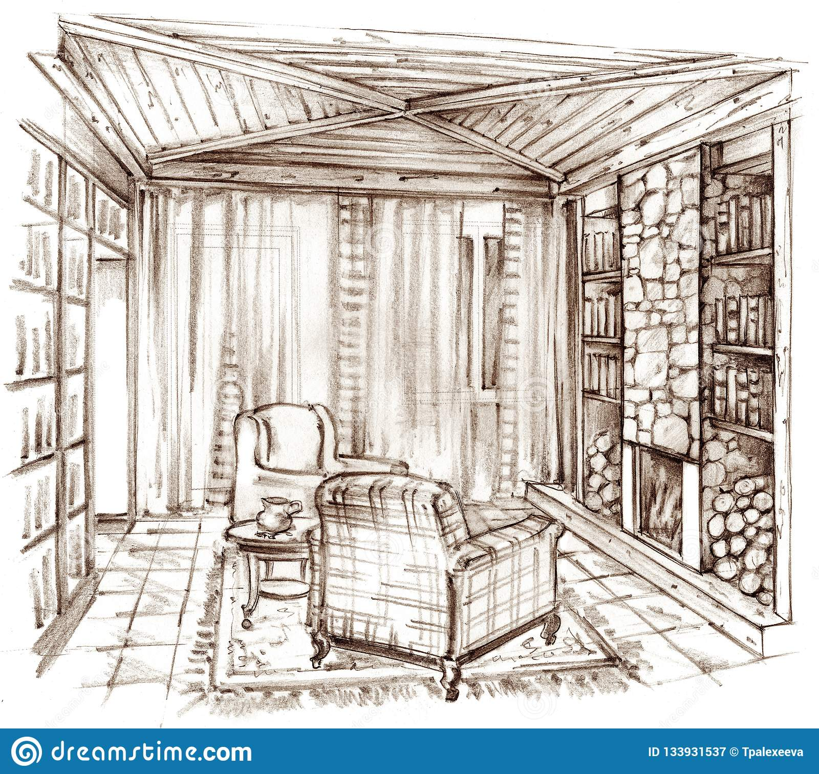 Pencil drawing of a classic library with a fireplace