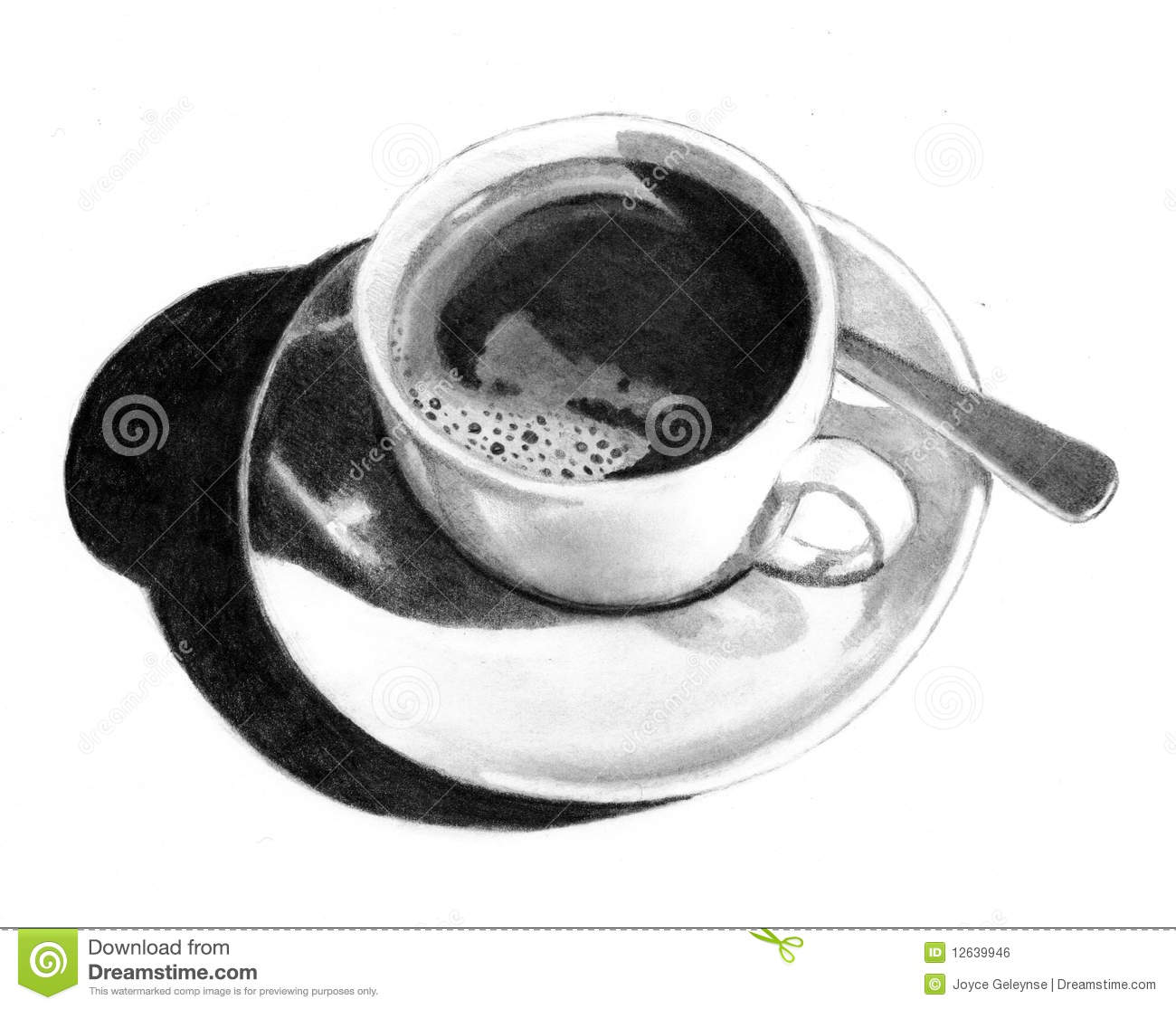 Pencil Drawing Of Cup Of Coffee Stock Illustration - Illustration of ...