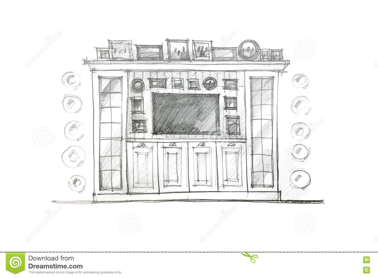 Living room drawing design - Pencil Drawing Design Of A Piece Of Furniture For Living Room