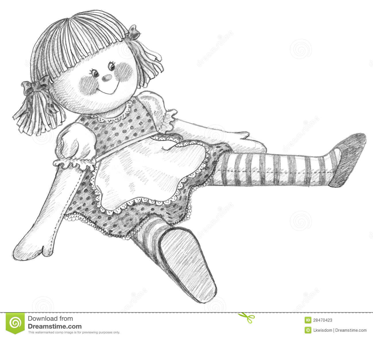 Pencil drawing of a cute childs doll