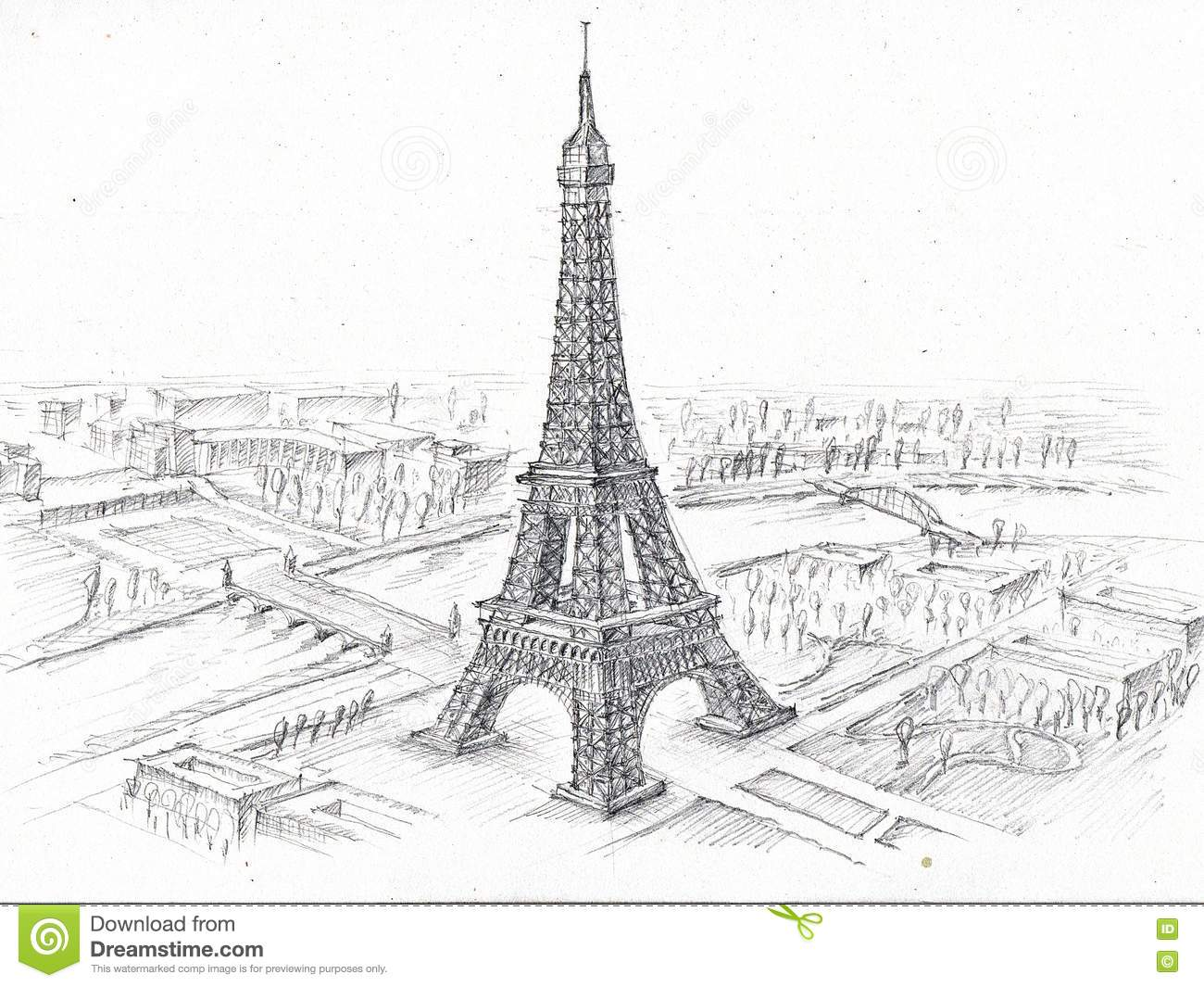 pencil drawing eiffel tower