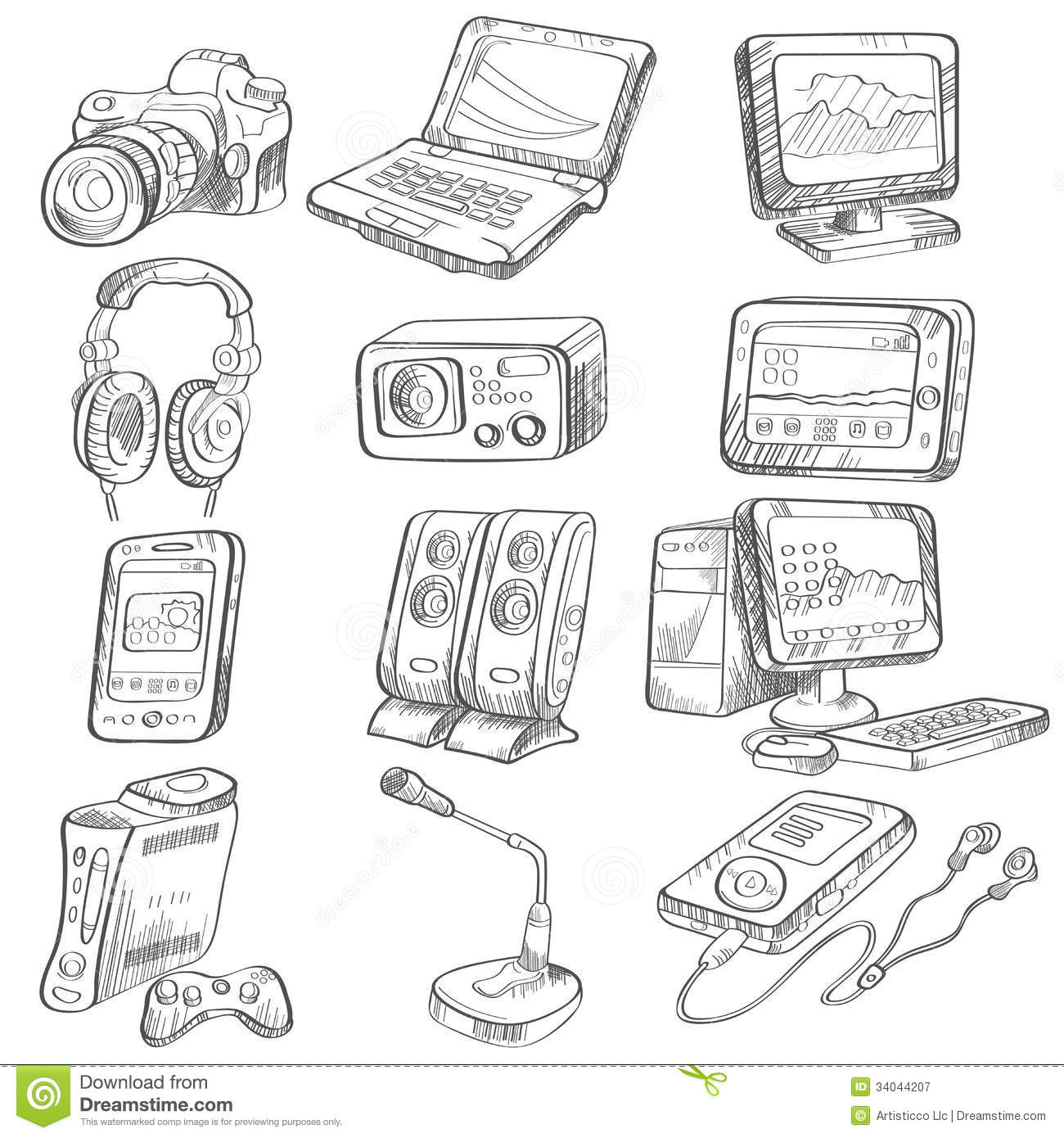pencil drawing of electronic gadget royalty free stock