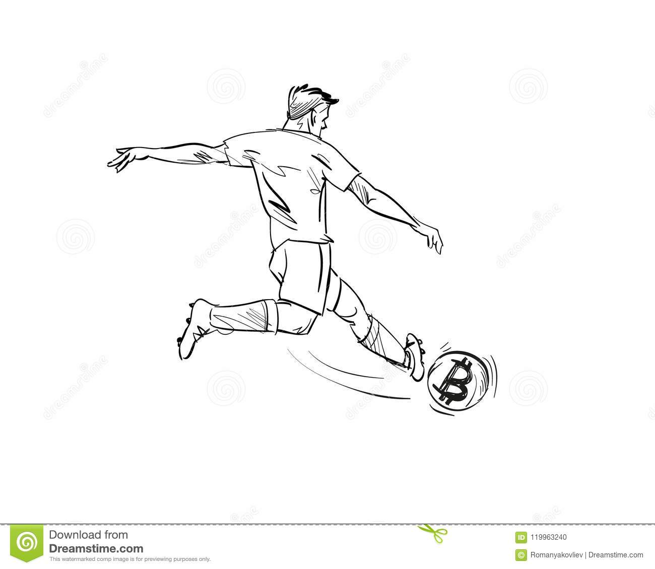 Football Player Hand Drawn Sketch Vector Illustration Stock