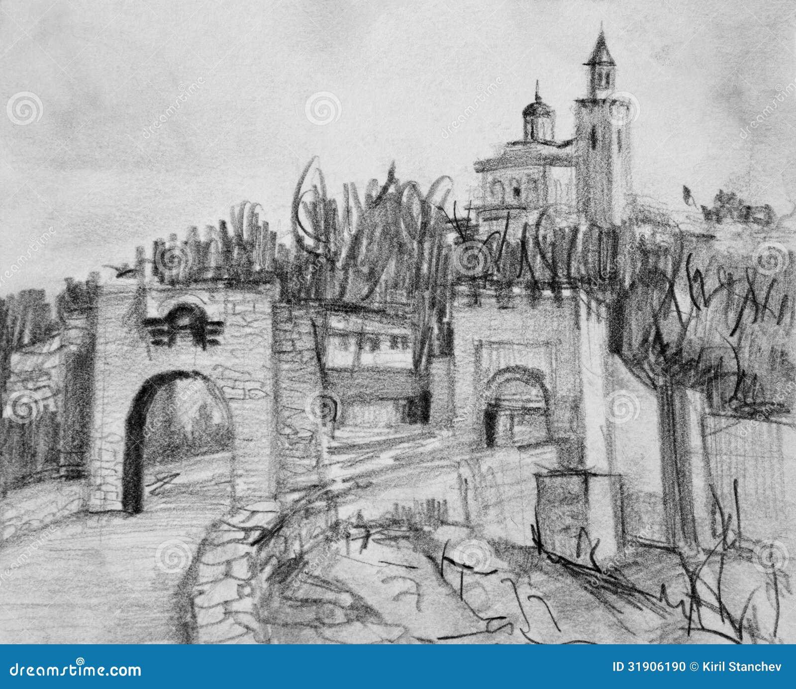 Pencil Drawing Of Fortress Tsarevets In Veliko Tarnovo