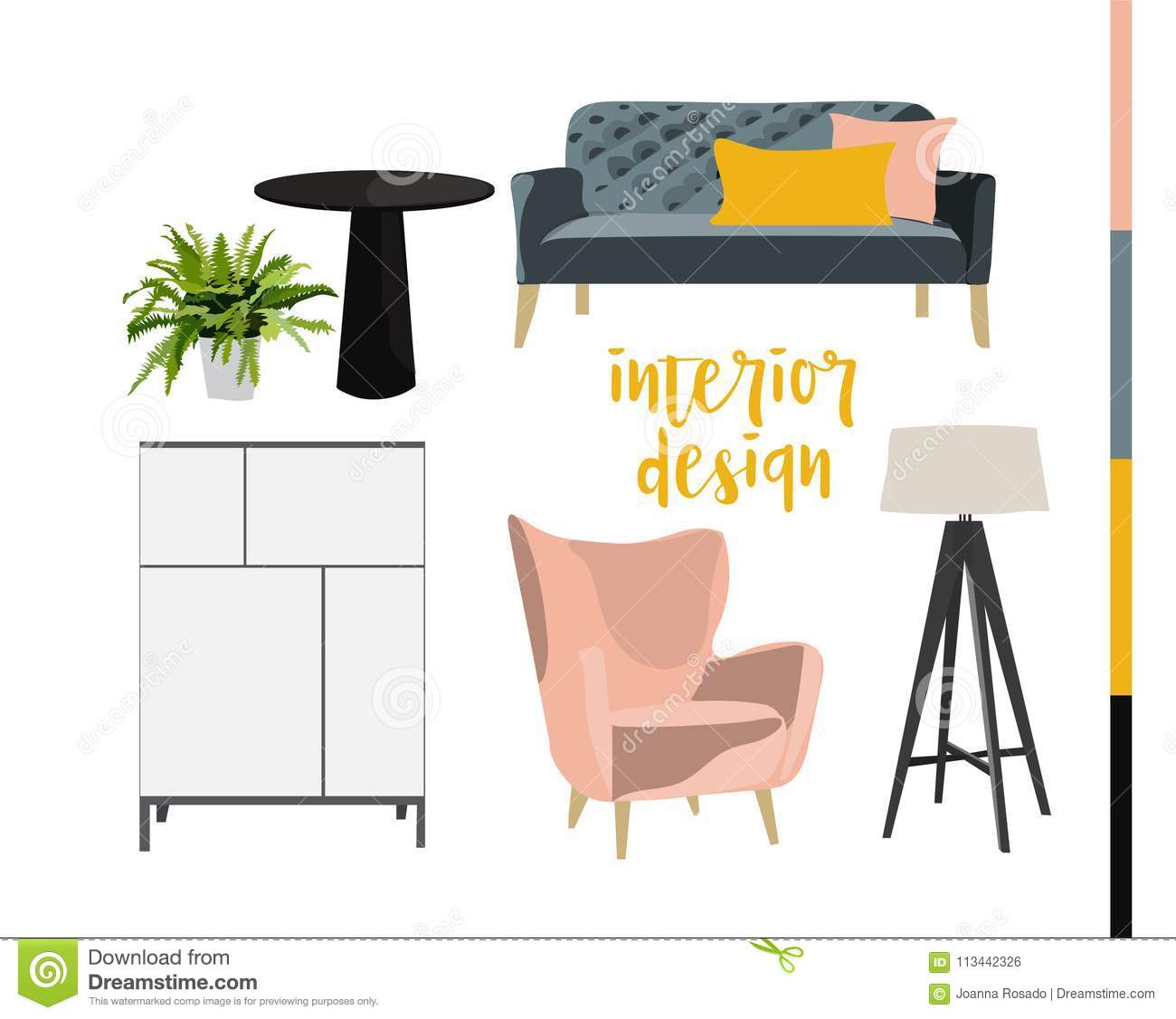 Interior Design Hand Drawn Elements Collection Furniture Drawing