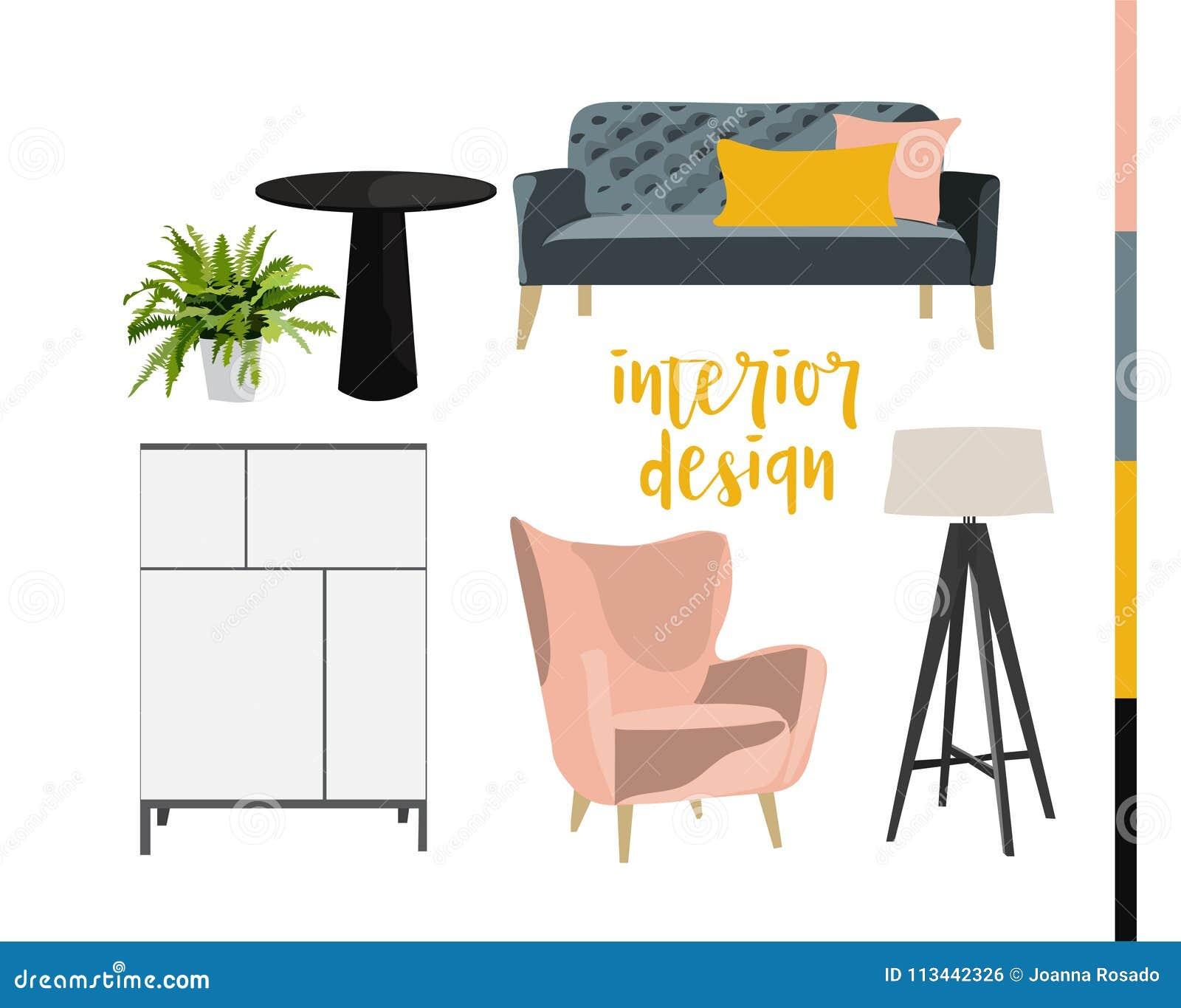Pencil drawing of home decor mid century modern decor modern design mood board