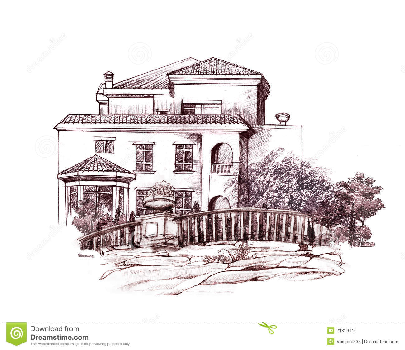 Pencil drawing of house and trees download preview