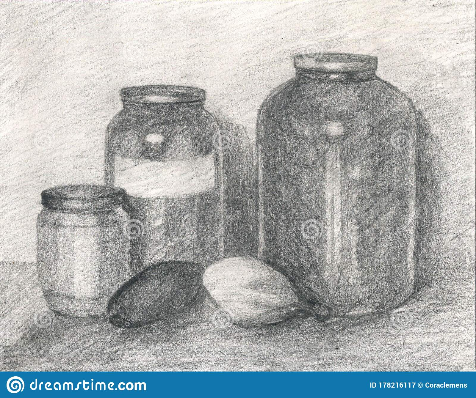 Pencil Drawing Of Jars With Homemade Pickles Stock Illustration Illustration Of Water Graphics 178216117
