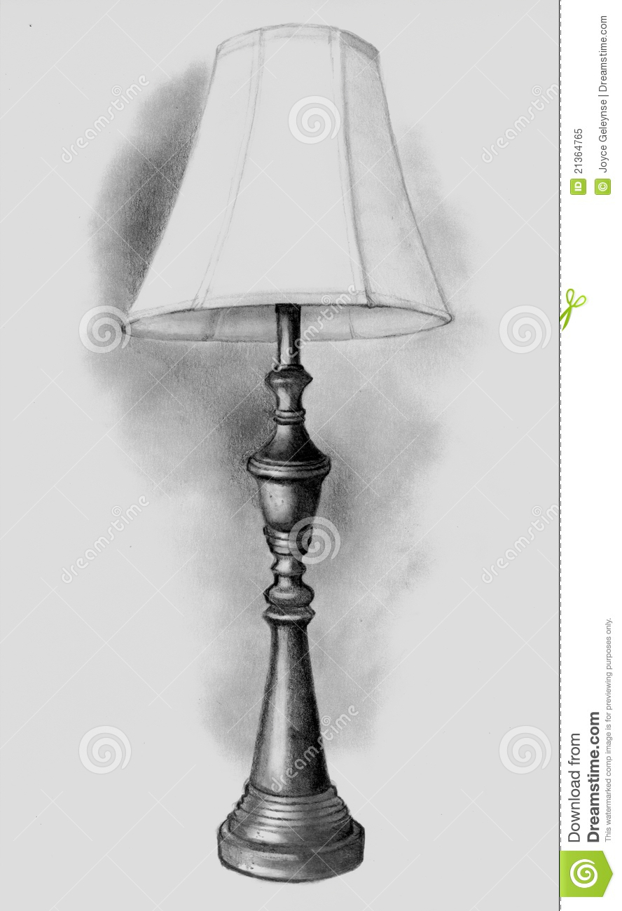 Pencil Drawing Of Lamp Royalty Free Stock Photo