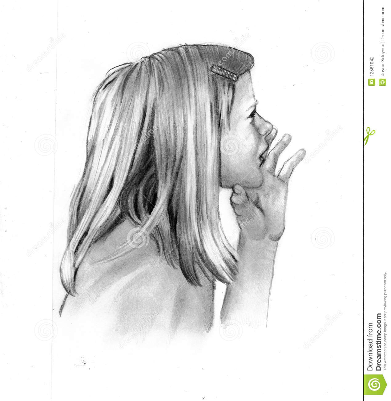 Pencil drawing of little girl calling or whisperin