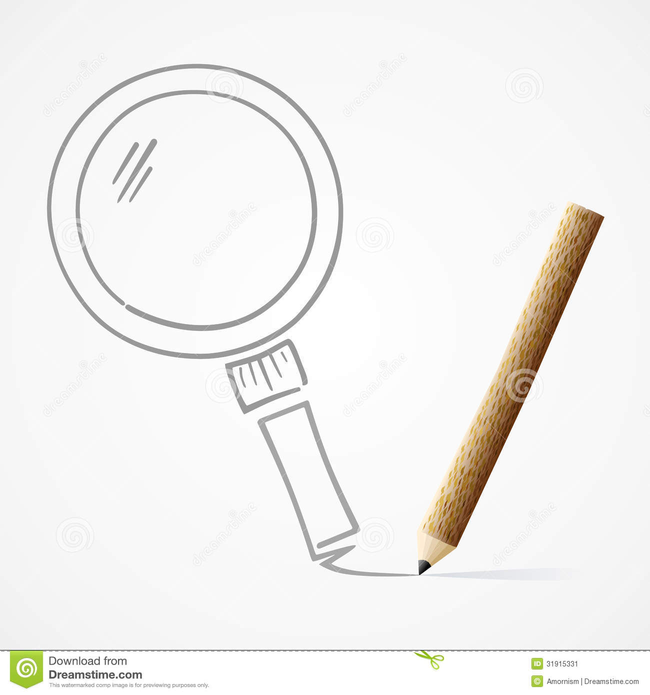 Pencil Drawing Magnifying Glass Stock Image Image 31915331