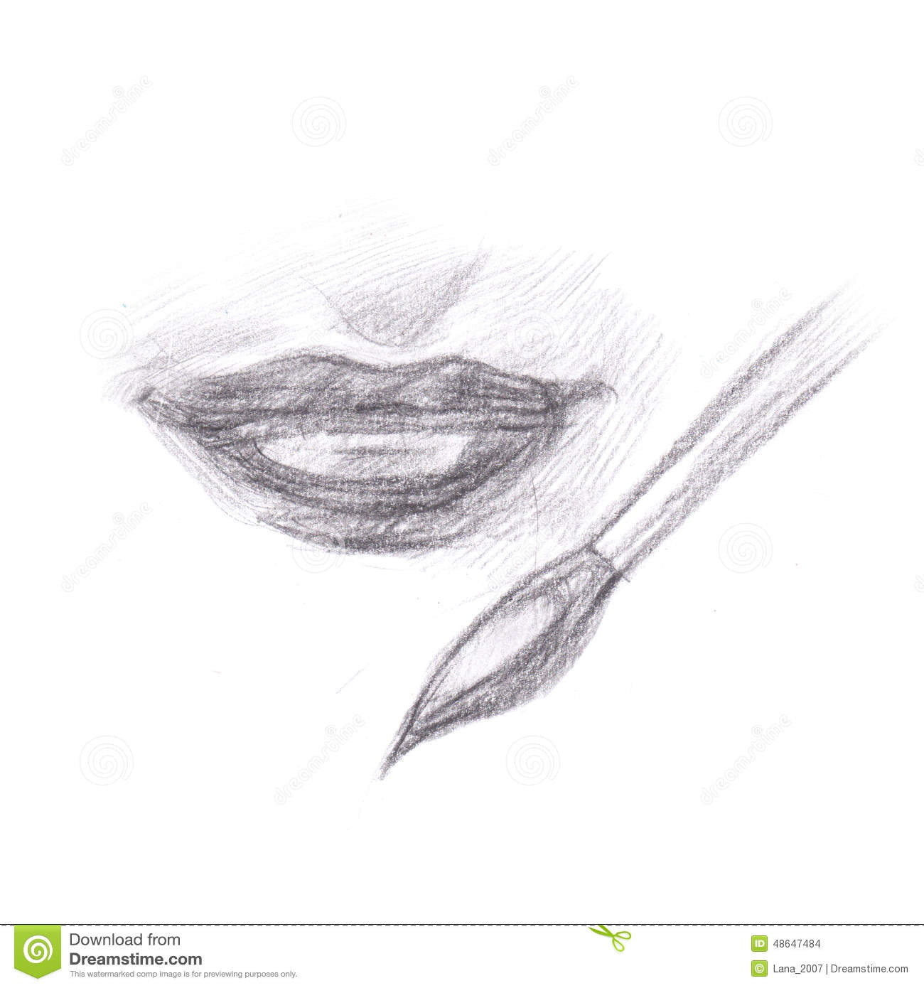 Pencil drawing of makeup lips stock illustration illustration of