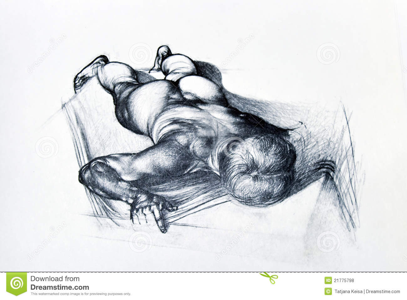 Pencil Drawing Of Man Body Stock Photo Illustration Of