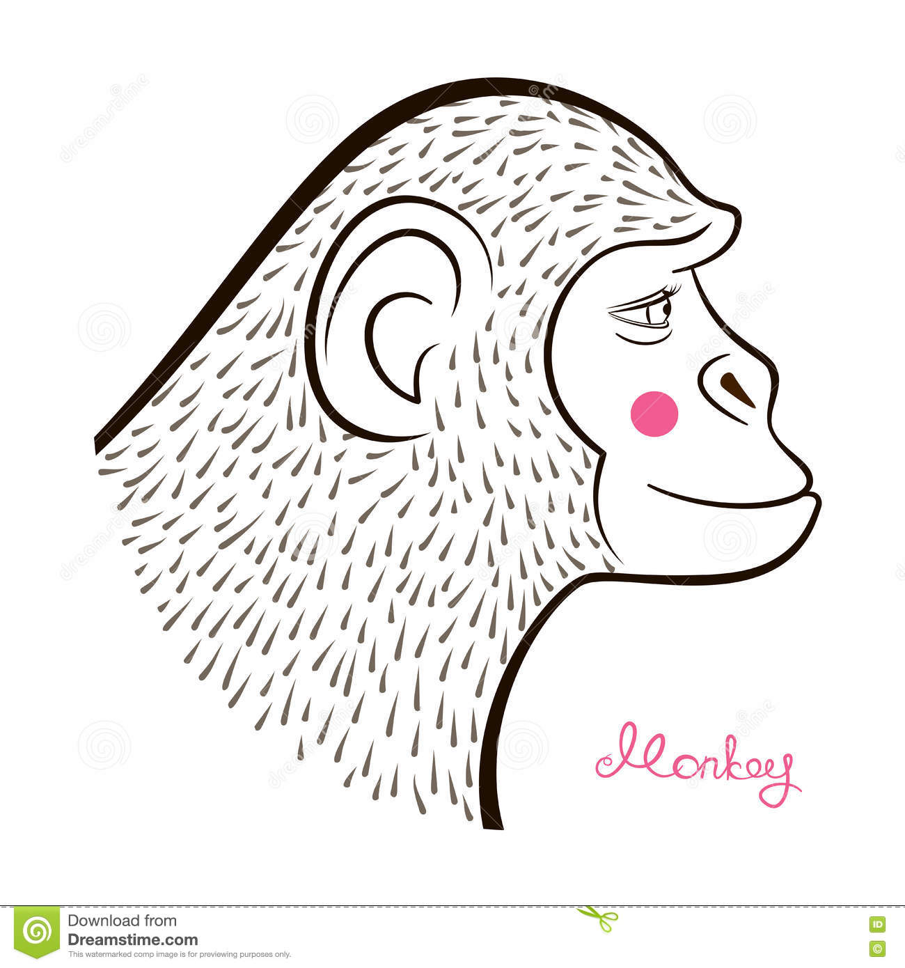 Pencil drawing monkey in hatching equipment outline cartoon character face in profile and calligraphy inscription vector illustration in doodle style