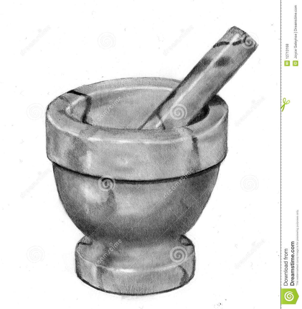 Pencil Drawing Of Mortar And Pestle Stock Illustration