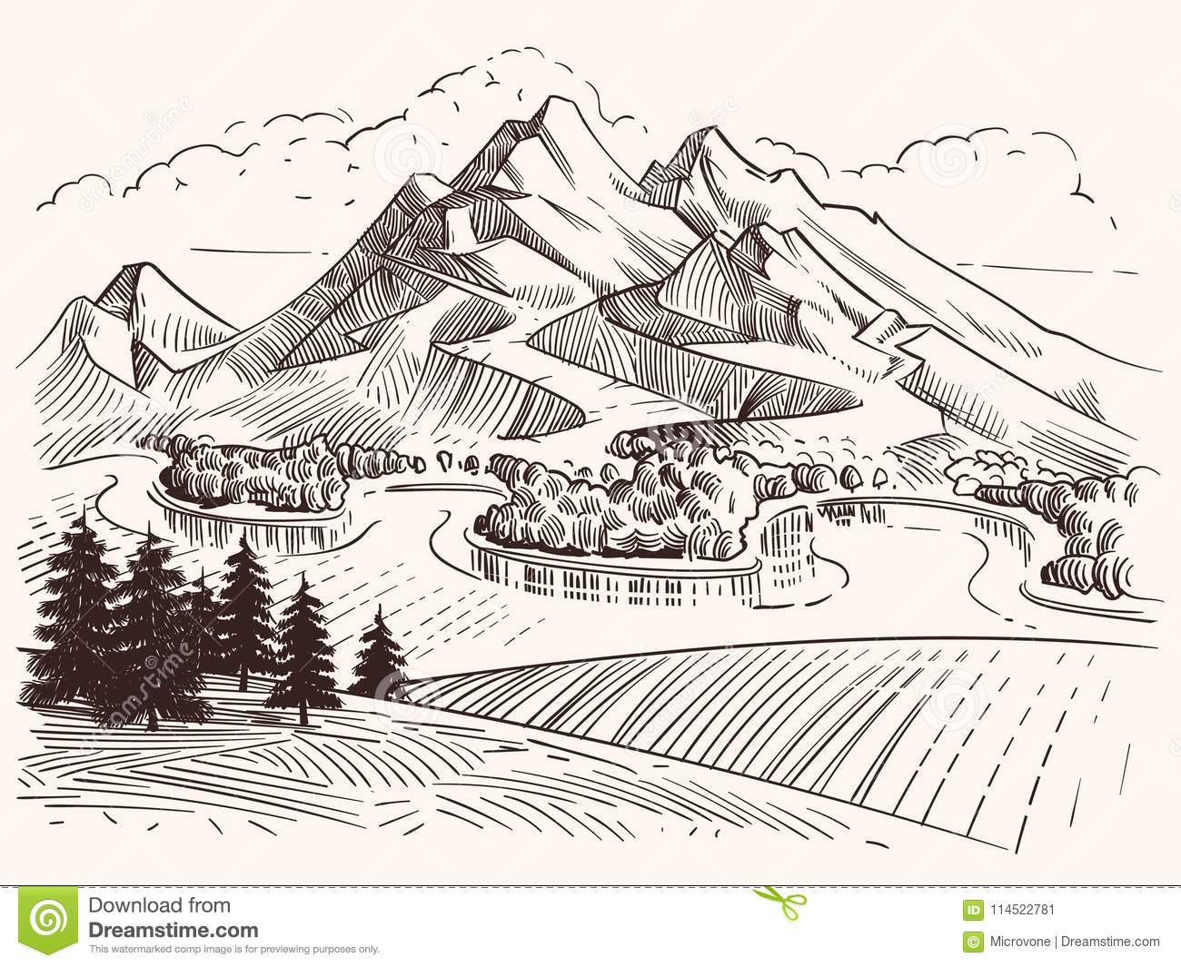 Pencil drawing mountain landscape cartoon sketch mountains and fir trees vector illustration landscape sketch mountain tree and peak hill
