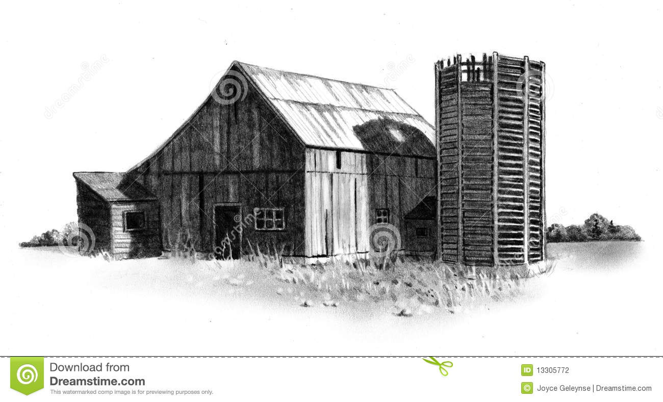 Download Pencil Drawing Of Old Barn And Silo Stock Illustration