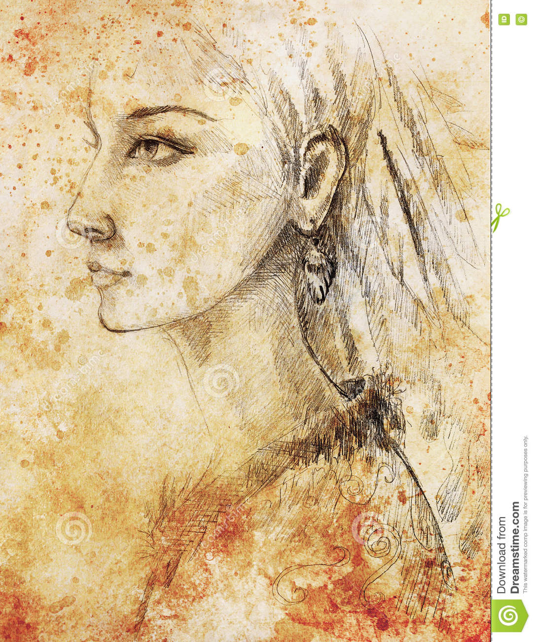 Pencil drawing on paper indian woman and feathers in hair sepia color