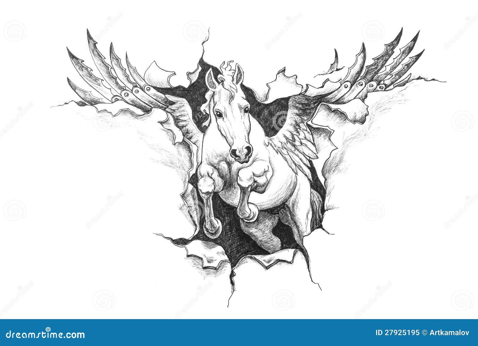 Uncategorized Drawings Of Pegasus pencil drawing of pegasus stock illustration image character pegasus