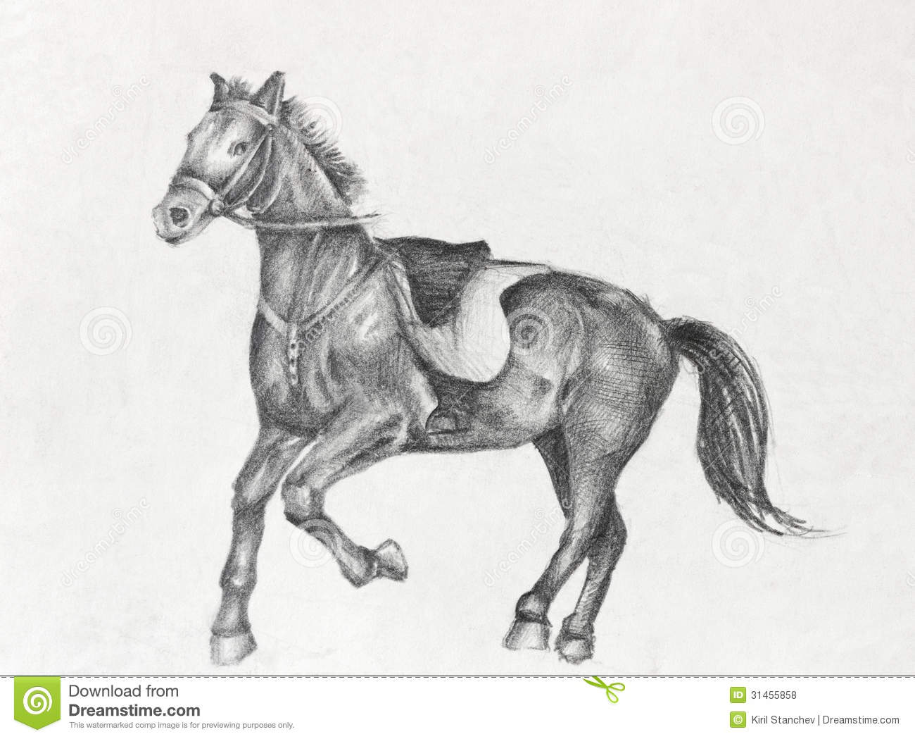 Pencil drawing of a running horse stock illustration for Disegno di un cavallo da colorare