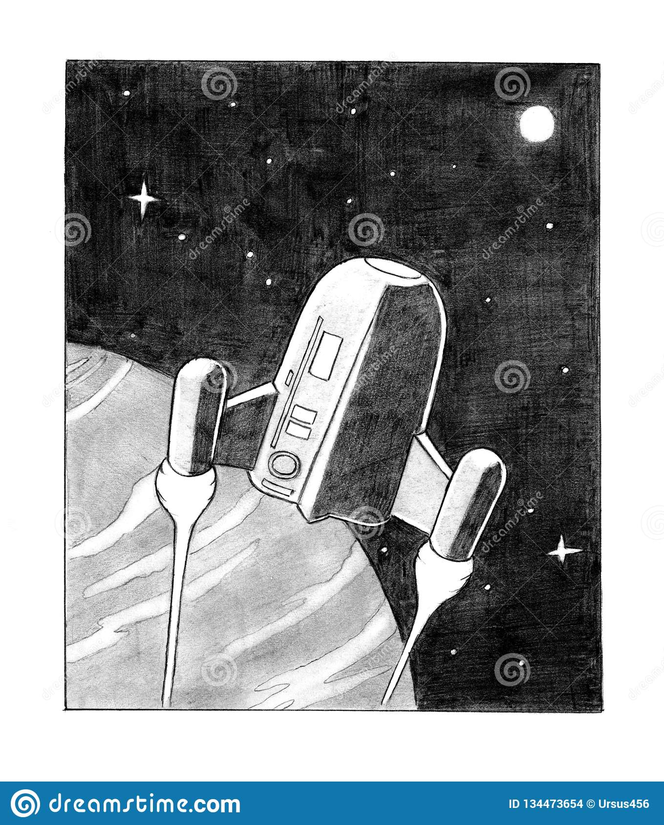 Pencil Drawing Of Sci Fi Spaceship On Planet Orbit Stock