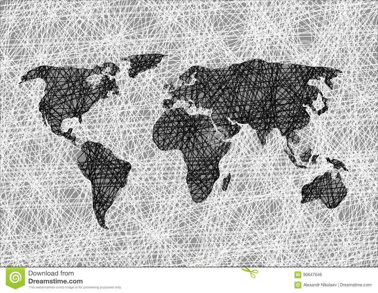 Pencil drawing sketch world map vector illustration stock vector download comp gumiabroncs Gallery