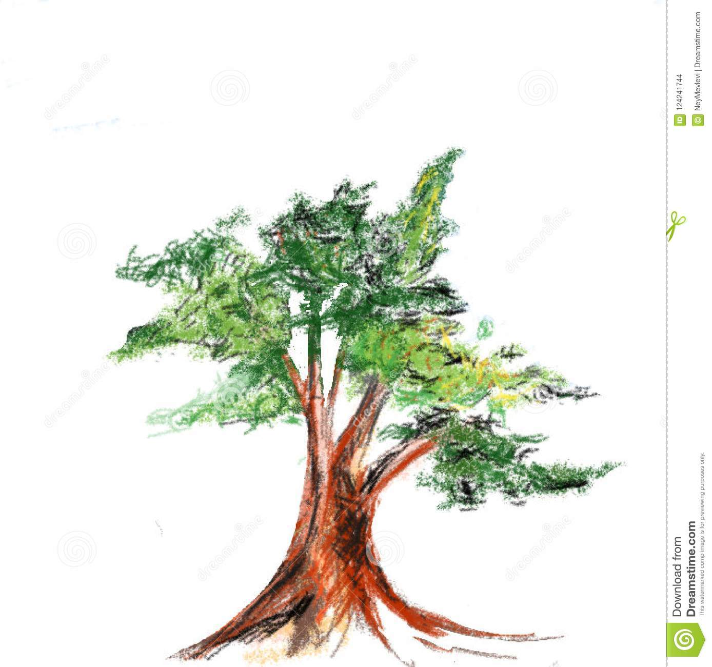 Pencil drawing of tree stock vector. Illustration of drawing - 124241744