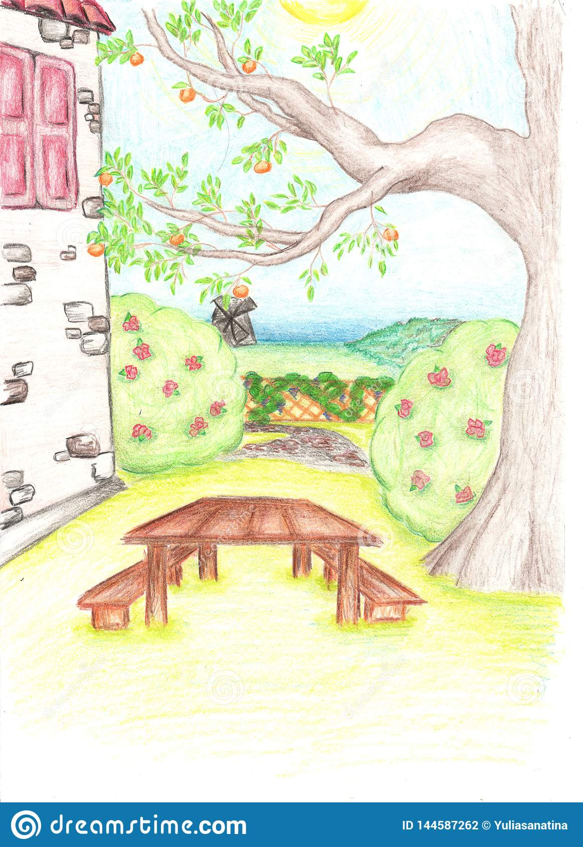 Pencil Drawing Of Tree And House With The Small Garden Stock