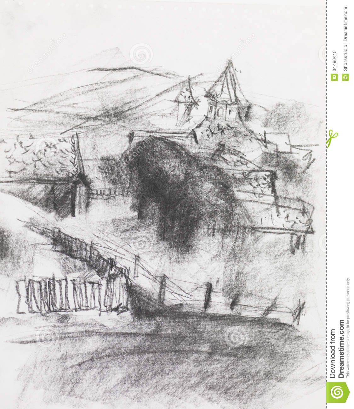 Hand drawn pencil illustration of a village