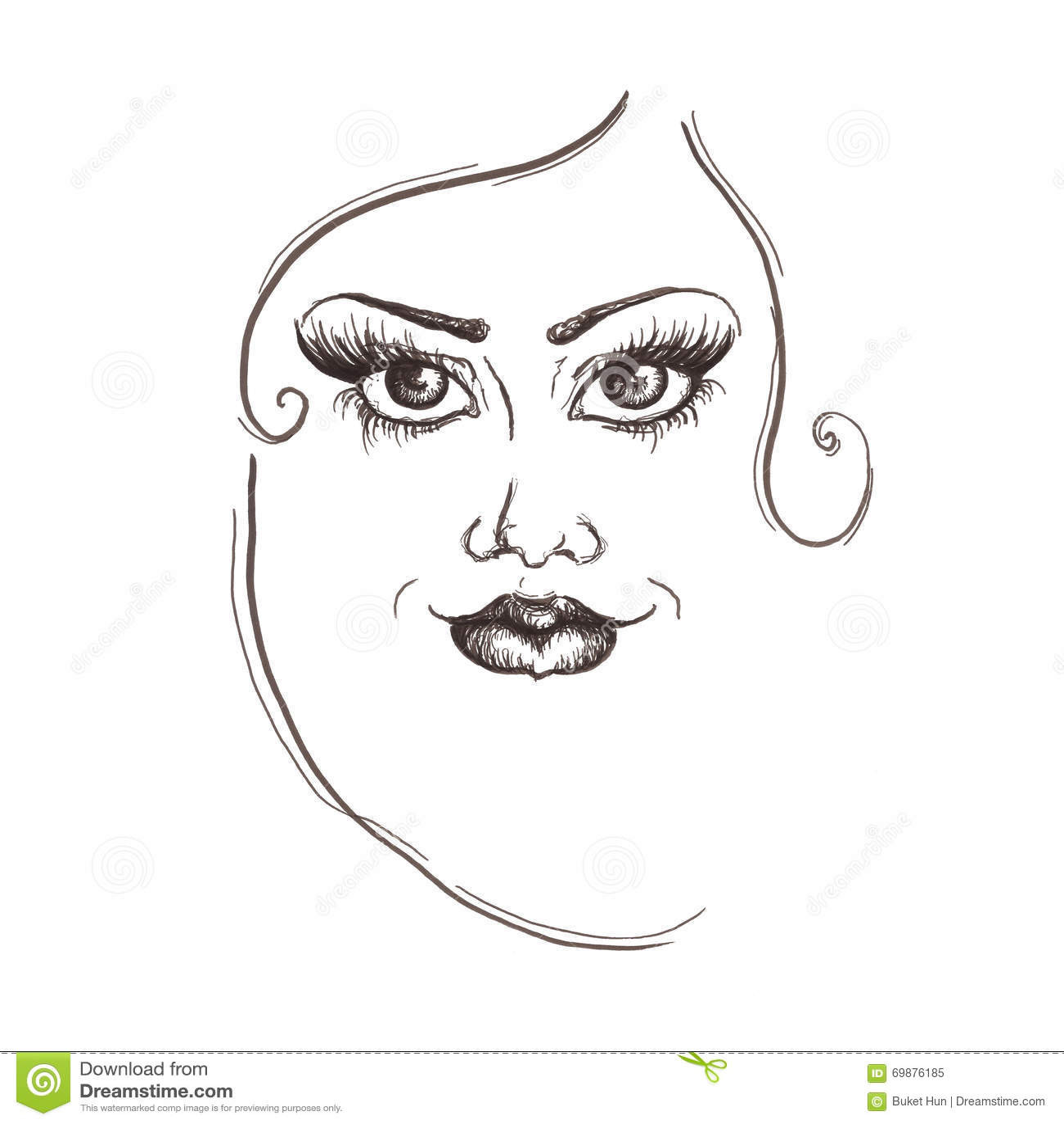 Pencil drawing woman portrait