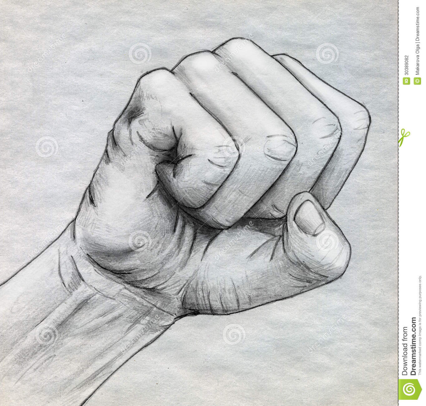 Pencil drawn clinched fist royalty free illustration